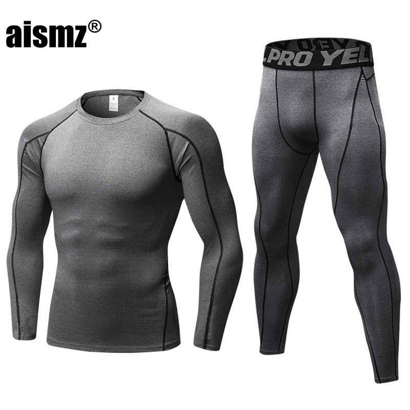 Aismz Winter Long Johns Thermal Underwear Sets Men Quick Dry Anti-microbial Stretch Men's Thermo Underwear Male Warm Fitness Man