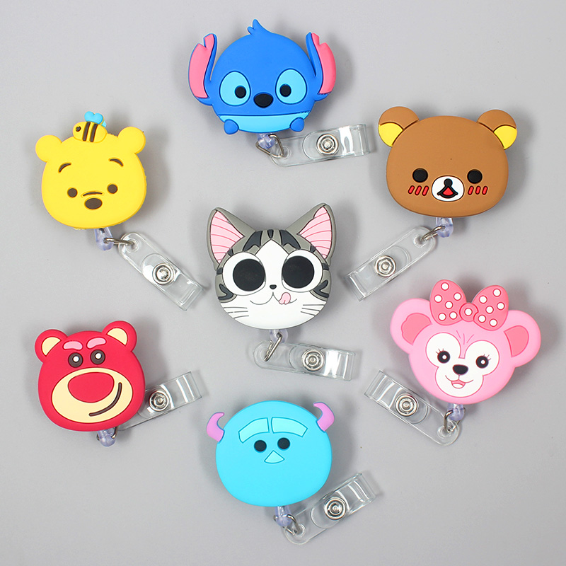 Creative Dolphin Bear Animals Retractable Plastic Badge Holder Reel Exhibition ID Enfermera Name Card Hospital Office Chest Card
