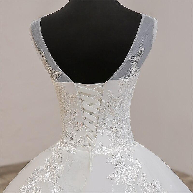 Image 5 - Fashion Classic simple V Neck Wedding Dresses Vestidos de novia Sweet Lace Applique elegant Girls Gowns Robe De Mariage 2019  8-in Wedding Dresses from Weddings & Events