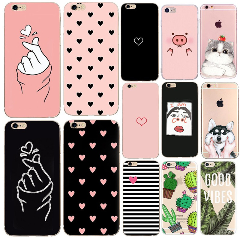 Ultra Thin Phone <font><b>Case</b></font> For Carcasa <font><b>iphone</b></font> xr Silicona Cat Cute Painting Soft Cover For <font><b>iphone</b></font> xs max xr 5se 5s 5 6s <font><b>6</b></font> 7 8 plus image