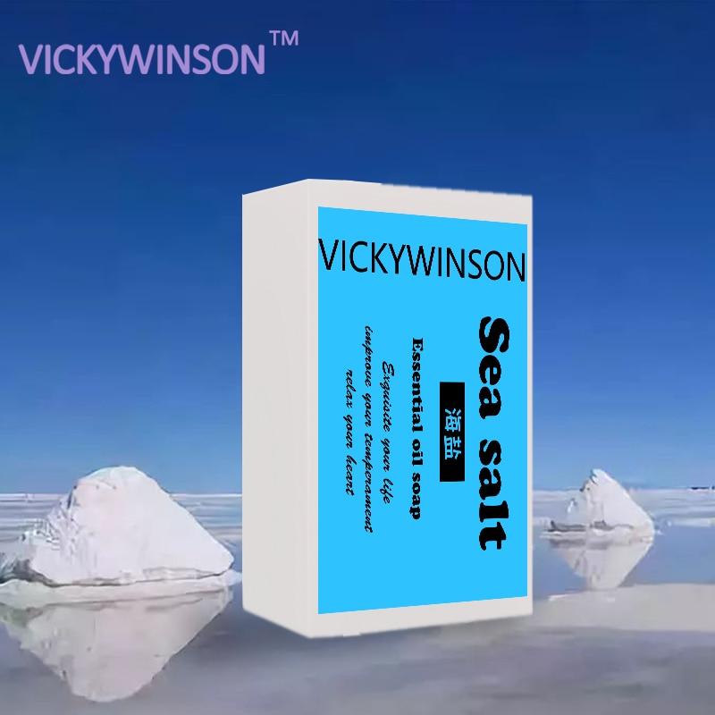 Sea Salt Soap To Remove Pimple Acne Treatment Oil And Acne Skin Essence Bath Soap Goat Milk Whitening Soap Skin Care 50g