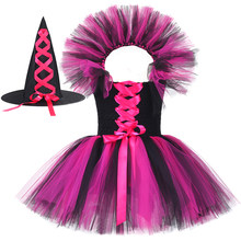 Girls Halloween Witch Costume with Collar for Kids Carnival Party Clothes Black & Hot Pink Children Girls Tulle Witch Tutu Dress(China)