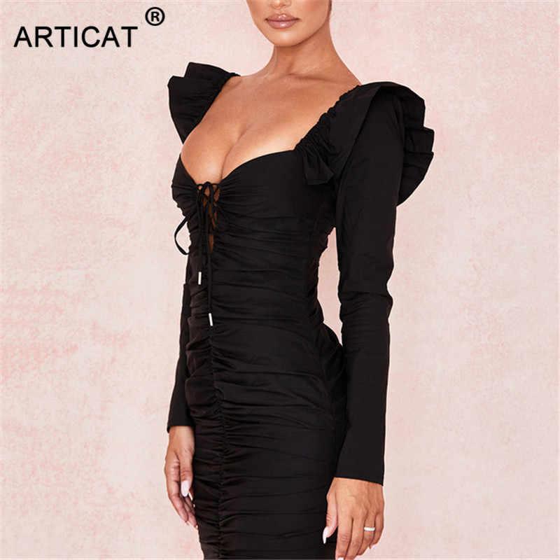 Articat с рюшами на оборках пикантные вечерние платье с v-образным вырезом, плиссированное платье с длинным рукавом облегающее Бандажное платье осеннее платье белое черное платье в стиле кэжуал с коротким