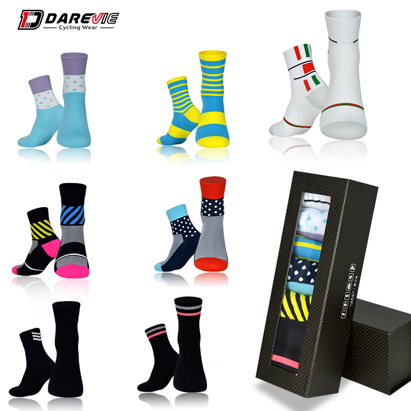 Darevie Professional Free Size Outdoor Sports Socks High Quality Weekly Socks Unisex Road Bicycle Breathable Cycling Socks