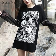 Onoti Molazo Gothic Print T-shirt Tops Women Harajuku Mesh Patchwork Punk Loose Summer Lady Top T-shirts Female 2019 Autumn New