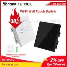 SONOFF جهاز تحكم ذكي TX T2/T3 UK يعمل باللمس, مفتاح إضاءة حائط واي فاي ، تطبيق صوتي ، تردد 433 ميجا هرتز ، جهاز تحكم عن بعد ، يعمل مع أليكسا e WeLink