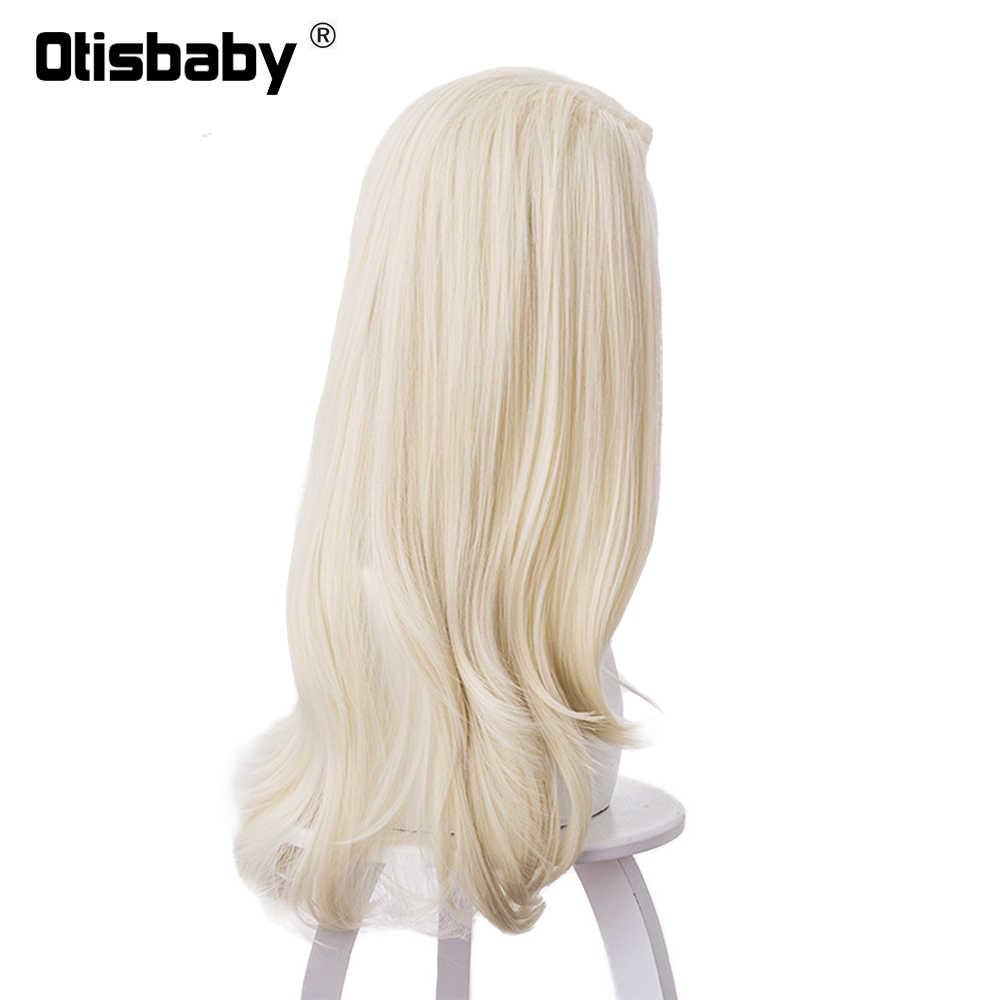 Perruque de Cosplay synthétique de princesse Elsa, cheveux blancs argentés, longue, perruque de noël, reine des neiges Anna
