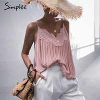 Simplee Sexy encaje bordado mujeres camisetas rosas elegante cuello pico Mujer camis tank top sólido spaghetti straps tops camisetas de las señoras 2020