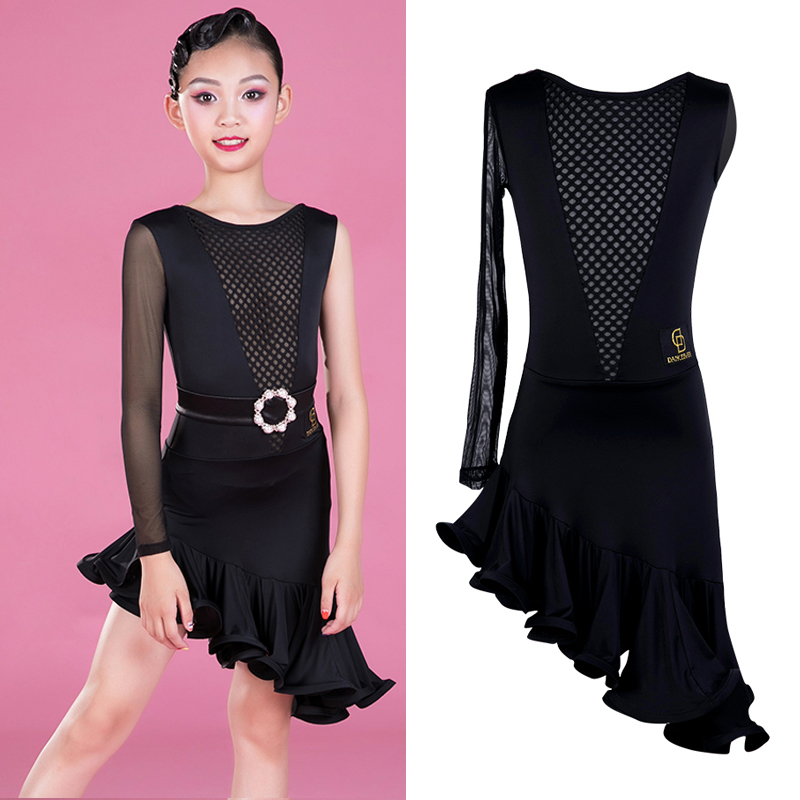 New Latin Dance Dress 2019 Girls Competition Dance Dress Single Sleeve Salsa Dress Performance Kids Dresses For Girls BL2494