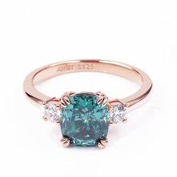 Tianyu gemmes coussin Moissanite bague de fiançailles 7x8mm 1.7ct étourdissant bleu vert blanc pierre couleur argent anneaux bijoux pour femmes