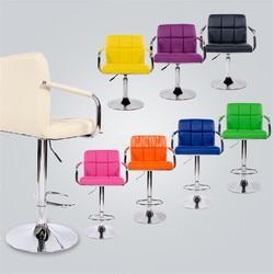Europejski styl podnoszenia obrotowe krzesło barowe obrotowa wysokość regulowana skóra z pu wysokie/niskie lada barowa krzesło z wysokim oparciem Krzesła barowe    -