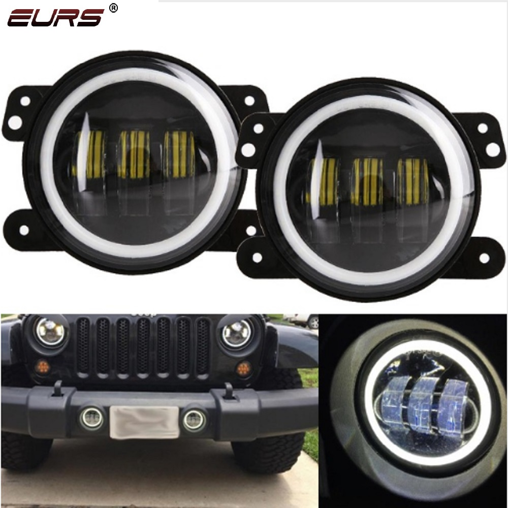 EURS LED lamps Motorcycle headlights 30W 6500K 3000lm 4inch Round Led Fog Lights White Halo Ring DRL Off Road Fog Lamps