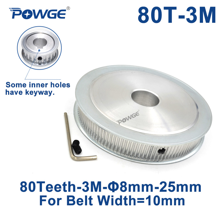 POWGE <font><b>80</b></font> Teeth HTD 3M Synchronous Pulley Bore 8/10/<font><b>12</b></font>/14/15/16/17/19/20/25mm for Width 10mm HTD3M Timing belt pulley 80T 80Teeth image