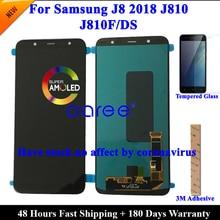 100% OLED AMOLED LCD מסך עבור Samsung J8 2018 LCD J810 LCD עבור סמסונג J8 2018 J810 LCD מסך מגע digitizer עצרת