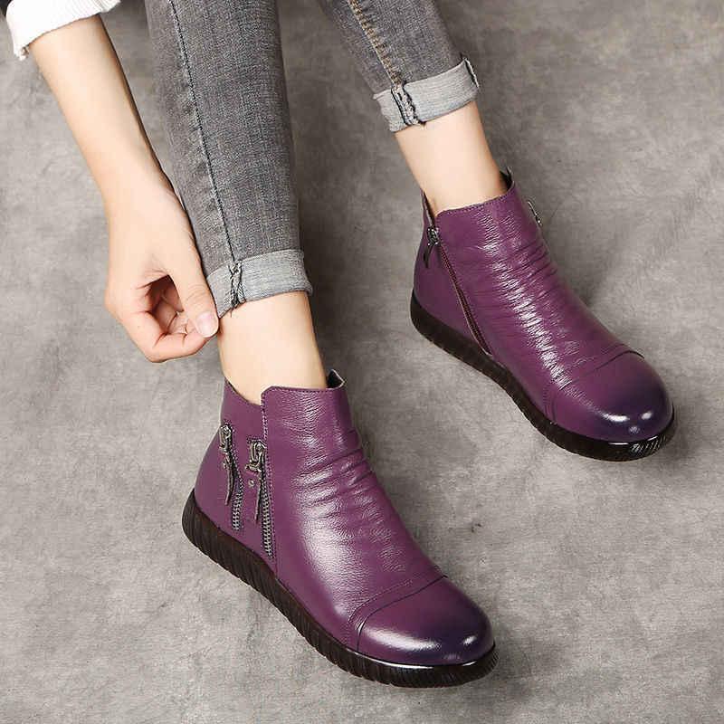 GKTINOO hakiki deri çizmeler kadın peluş kar botları anne ayakkabı tasarımcısı fermuar takozlar ayakkabı kadın yarım çizmeler