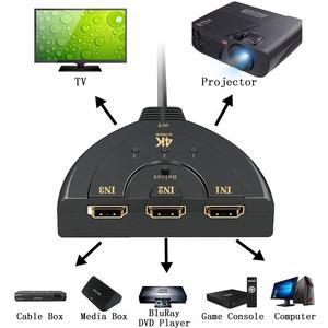 Image 2 - Hdmiスプリッタ3ポートhdmiスイッチ1.4b 4 22kスイッチャーフルhd 3で1アウトポートハブ4 18k * 2 18k 3Dとピッグテールケーブルdvd hdtv xbox PS3