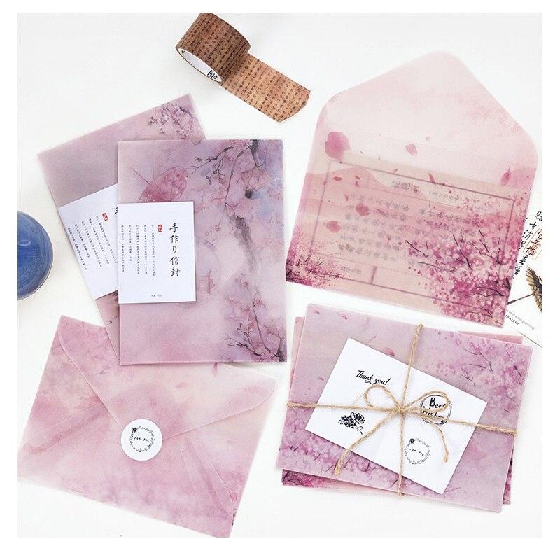 3 Pcs/Set Cherry Blossoms Sakura Parchment Paper Envelope Thanksgiving Christmas Gift Wedding Letter Invitation