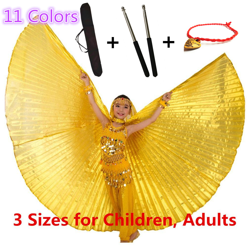 11 Colors Belly Dance Wings Sticks Bag Belly Dancing Costumes Bellydance Egypt Isis Wings For Children Girls Kids Adults Gold