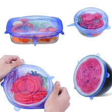 Lid-Cover Vacuum-Food-Wrap Silicone Stretch-Lids Kitchen Reusable 6pcss Universal-Lid