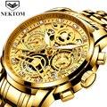 Мужские наручные часы, мужские кварцевые часы, роскошные золотые мужские часы с хронографом, Золотые Большие мужские наручные часы