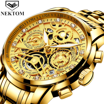 Nekttom 2019 Men Sports Watch męskie zegarki Top marka Luxury Gold Big męski zegarek Man Quartz męskie luksusowe zegarki sportowe tanie i dobre opinie NEKTOM 24inch Luxury ru 3Bar Ukryte zapięcie STAINLESS STEEL 12 5mm Hardlex Kwarcowe Zegarki Na Rękę Papier 42mm 8202