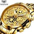 Relogio Masculino Horloges Mannen Quartz Horloge Luxe Gouden Chronograaf Mannen Horloges Goud Grote Man Horloge Man