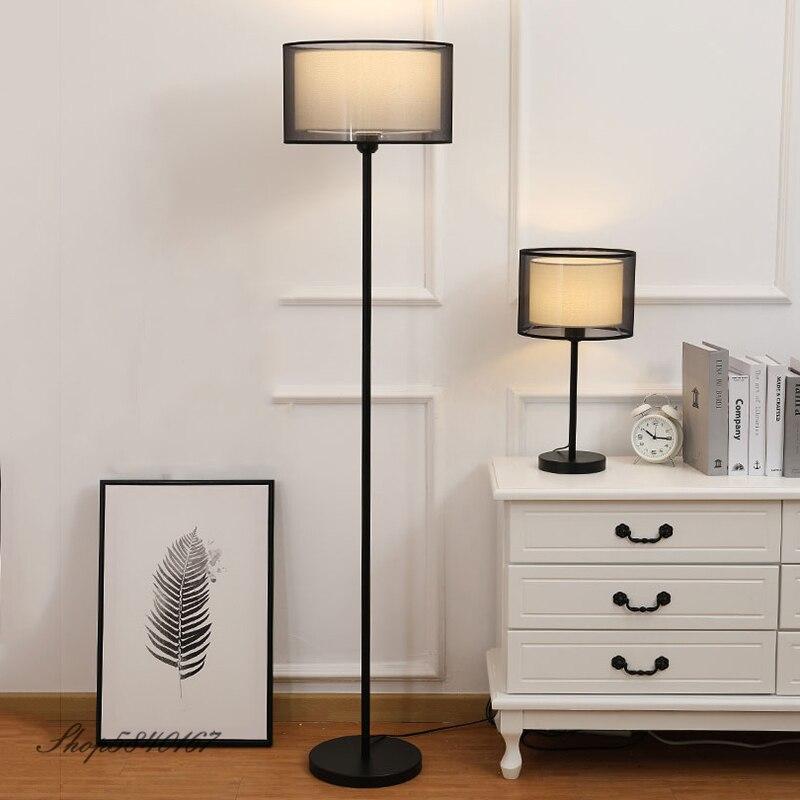 Скандинавский напольный светильник для спальни, современный напольный светильник, двухслойный тканевый абажур, домашний деко, высокий светильник, напольный E27 светодиодный|Напольные лампы|   | АлиЭкспресс