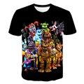 Для маленьких мальчиков и девочек, Летний Классический с героями игры «пять ночей с Фредди» (игры Harajuku Стиль футболка 3D; Детская одежда с при...