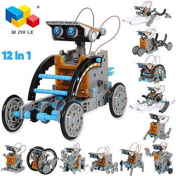 Robot solarny zestawy high-tech zabawki naukowe dla chłopców i dziewcząt intelektualne zestawy 12 w 1 Diye Ducational dla dzieci tanie i dobre opinie CN (pochodzenie) 12 + y Solar robot Not edible Chiny certyfikat (3C) Do jazdy