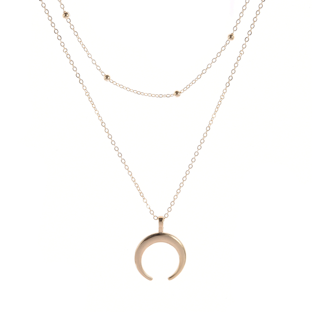 Многослойное ожерелье с роговым ожерельем полумесяцем ювелирные
