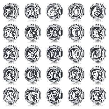 1 PC Letter Charm BAMOER 925 Sterling Silver Vintage A to Z CZ Alphabet LetterS Beads Fit Charm Bracelets DIY Jewelry SCC738