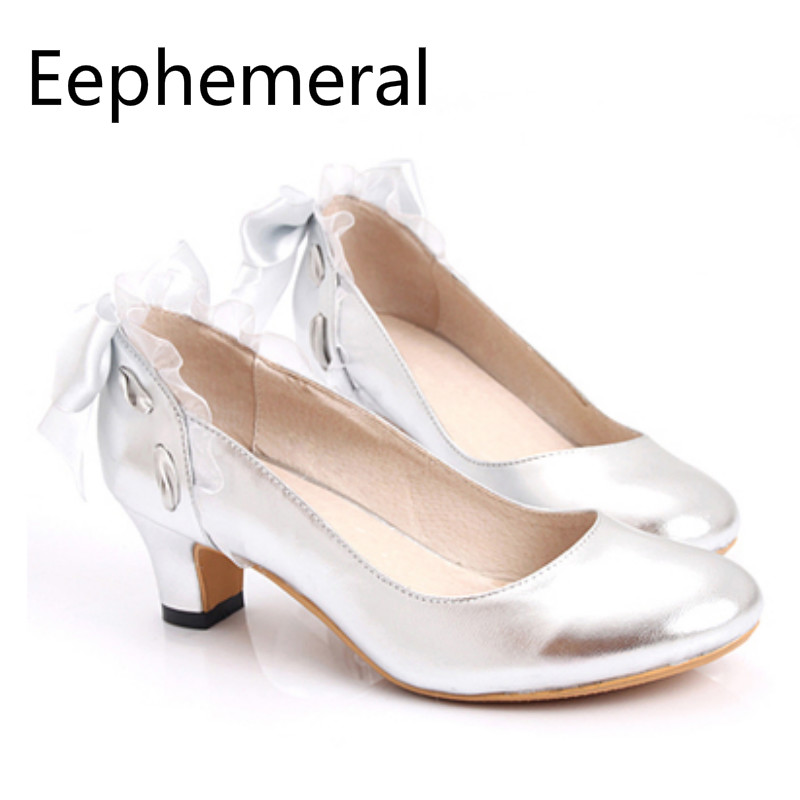 Lady Real Leather Soft Back Knot Lace Pumps Round Toe Wide Foot Shoes Wedding Bride White Silver Elegant Zapatos Mujer Female 46