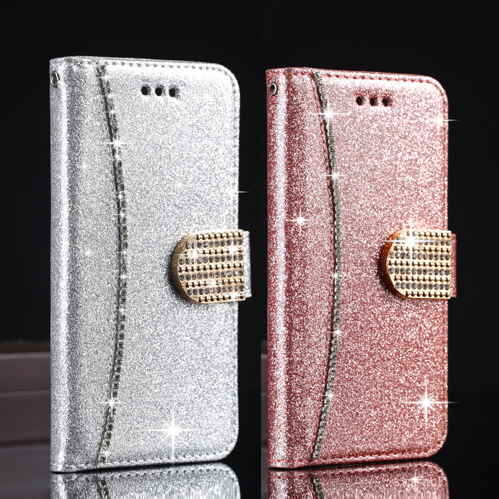 Bling Glitter Flip Leather Wallet Case For Samsung S20 Ultra S9 Plus S8 S7 For Iphone 6 PLUS X 11 Max Magnetic Cover Case image