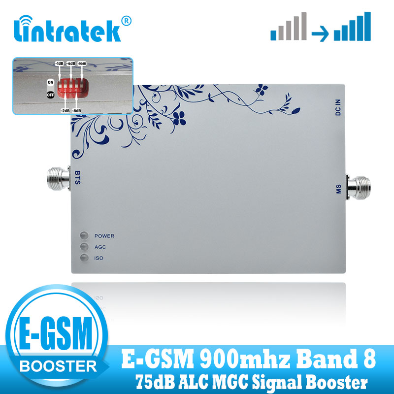 Lintratek EGSM 900MHz 2G 3G ALC Signal Repeater 75dB GSM 900MHZ (Band 8) UMTS 3G Mobile Signal Booster Cell Phone Amplifier