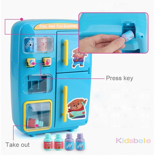 Children Pretend Play Toys Simulation Double Refrigerator Vending Machine Toys Kids Kitchen Food Toy Mini Play House Girls Toys