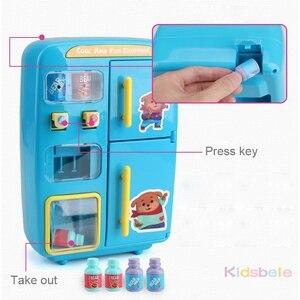 Image 4 - I bambini fanno finta di giocare giocattoli simulazione doppio frigorifero distributore automatico giocattoli cucina per bambini cibo giocattolo Mini Play House giocattoli per ragazze