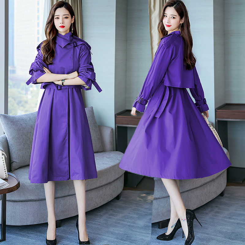 2020 Spring Fall Fashion Womens Clothes , Korean Purple Black Grey Long Trench Coat For Women , Woman High Waist Coats