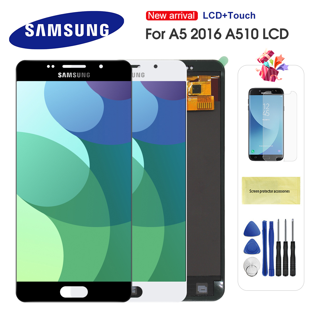 For Samsung Galaxy A5 2016 A510 A510M A510FD A5100 A510Y LCD Display Touch Screen Digitizer Assembly Can Adjust Brightness