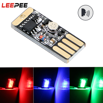 LEEPEE Car LED Atmosphere Light RGB Music Rhythm Touch and Sound Control With USB Socket Auto Decorative Lamp Styling - discount item  23% OFF Car Lights