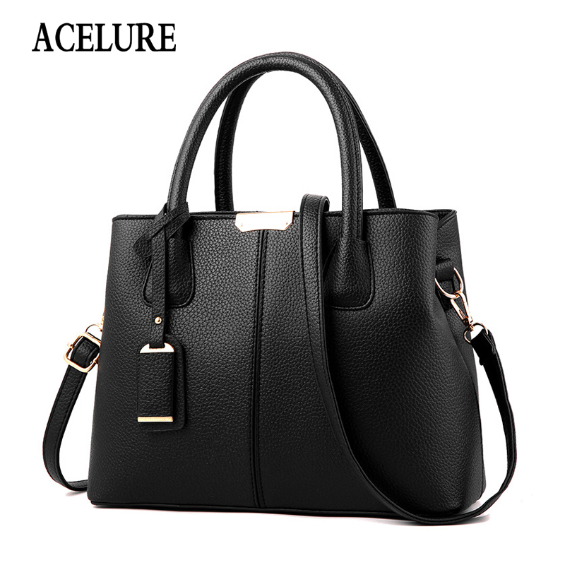 ACELURE All-match Ladies Shopping Shoulder Hand Bags Simple Style Fashion Women Bags Solid PU Leather  Purses And Handbags