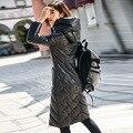 Peau de mouton en cuir véritable veste pour vêtements mince à capuche canard vers le bas manteau d'hiver femmes AKF 125A YY885