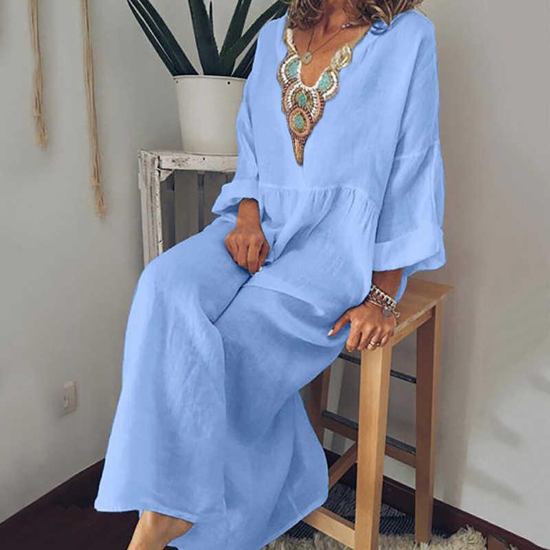 Fanbety 5XL осеннее женское хлопковое льняное богемное Платье макси с принтом элегантное свободное платье с длинным рукавом женское сексуальное пляжное платье с v-образным вырезом