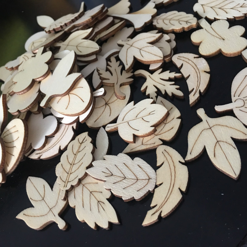 50 Pcs Leaves Pattern Wooden Scrapbooking Art Collection Craft For Handmade Accessory Sewing Home Decoration Deco Craft