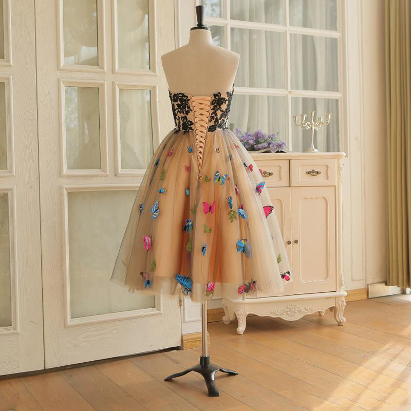 2020 New Fashion Evening Dress Ball Gown Colorful Butterfly Sweetheart Lace Party Bandage Halter Formal Dresses 3