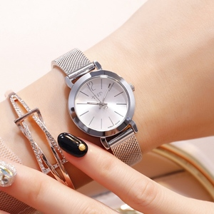 Image 3 - Reloj de pulsera de acero dorado y rosa para mujer, pulsera de malla plateada, relojes de cuarzo para chica, reloj sencillo informal para adolescentes