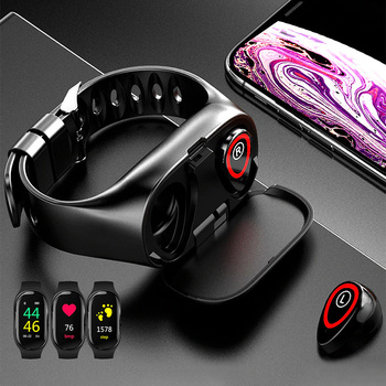 2-in-1 Earbuds Smart Watch Bluetooth Sports Bracelet Blood Pressure Heart Rate Monitor Wristband Outdoor Fitness Equipment