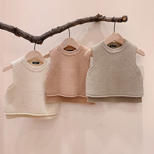 MILANCEL 2021 Spring New Baby Clothing Korean Style Toddler Girls Vest Baby Knit Pullover
