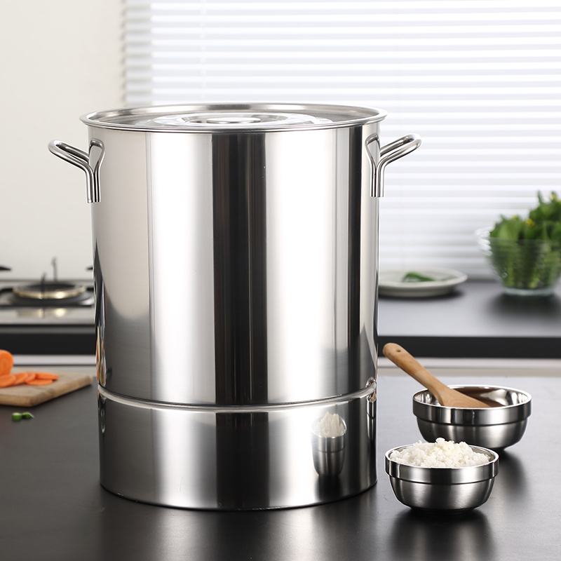 Thickend Stainless Steel Steamer Barrel Large Size Steamed Rice Leachate Pot Grid Steaming Pan Household Commercial