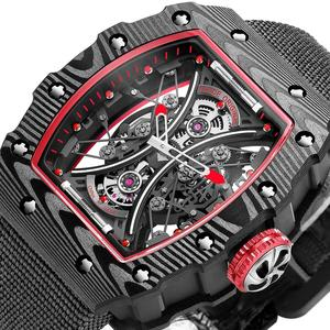 men mechanical skeleton watch fashion sport luxury 50M waterproof automatic watches