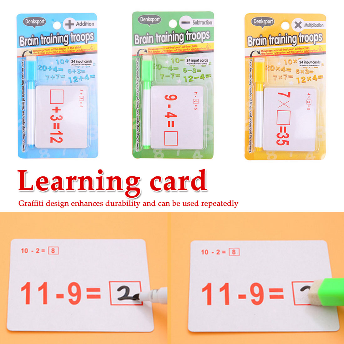 Reusable Mathematics Card Teaching Resouce With Erasable Pen Children Educational Math Calculate Toy Kids Stationery Gifts